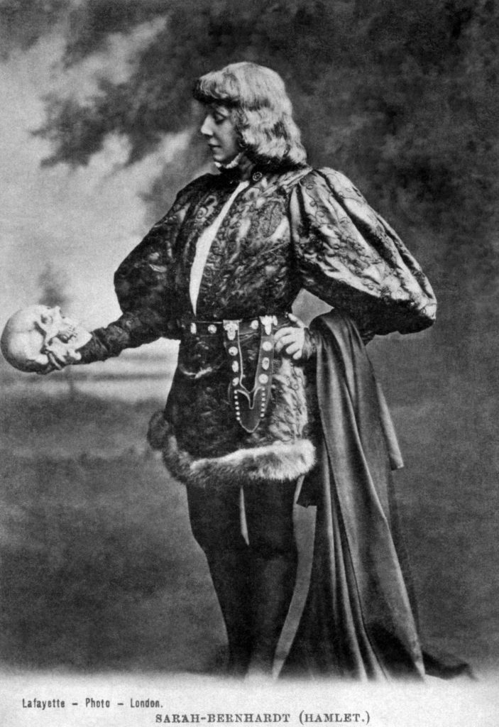 An old vintage picture of Sarah Bernhardt playing Macbeth.
