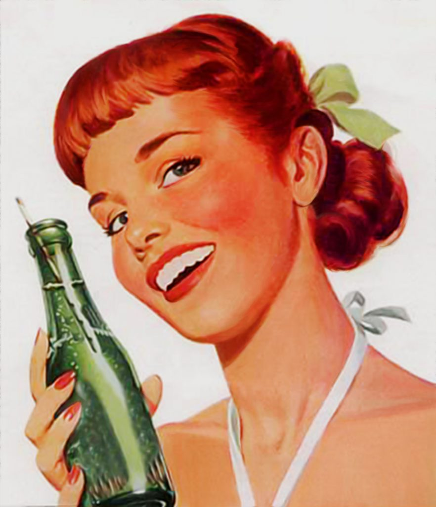 A cheesy 1950's or earlier marketing advertisement. A housewife smiling whilst holding a bottle of lemonade.